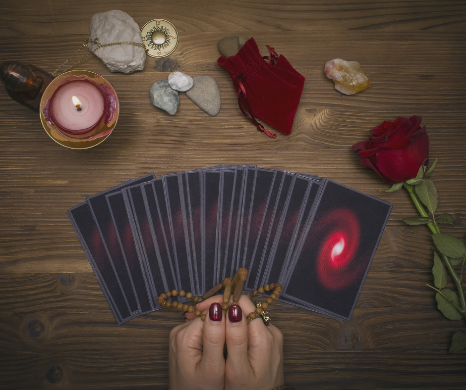 Psychic about to read Tarot cards. Psychic Junkie.